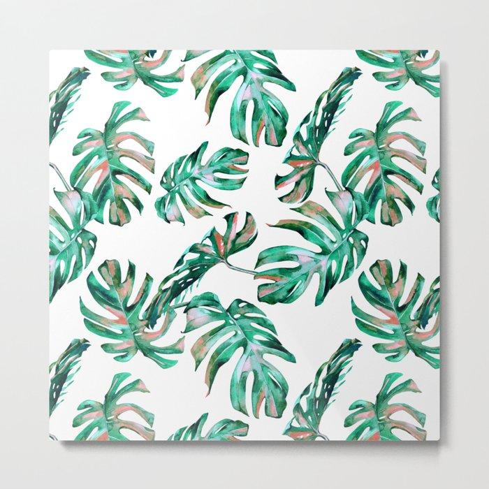 Green Coral Palm Leaves Metal Print