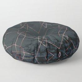 Modern Deco Rose Gold and Marble Geometric Dark Floor Pillow