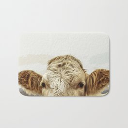 A cow greeting is like no other Bath Mat