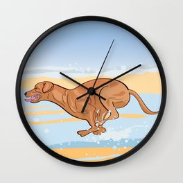 Beach Vizsla Wall Clock