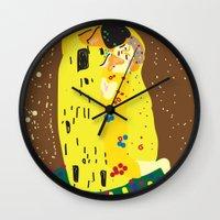 klimt Wall Clocks featuring klimt by John Sailor