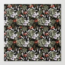 Dark tropical pattern I Canvas Print