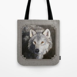 Gray Wolf Face Tote Bag