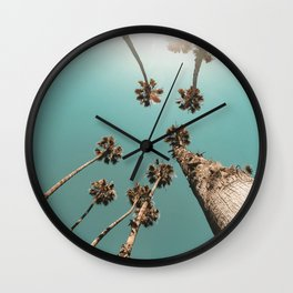 {1 of 2} Palm Trees = Happy // Teal Summer Sky Wall Clock