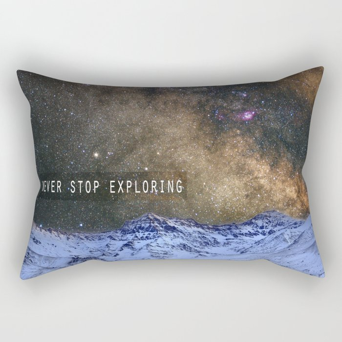 Never stop exploring mountains, space..... Rectangular Pillow