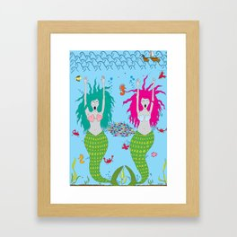 The ghostly mermaids under the sea Framed Art Print