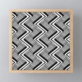Zig-Zag Black & White Framed Mini Art Print