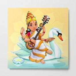 Sarasvati, Hindu goddess of knowledge, arts and learning. Metal Print