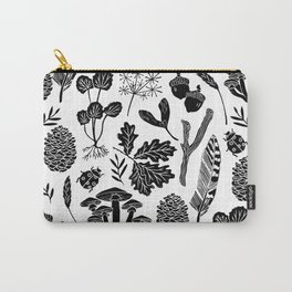 Linocut minimal botanical boho feathers nature inspired scandi black and white art Carry-All Pouch