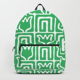 Mid Century Flower Garden Pattern 381 Green Backpack