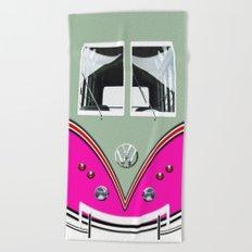VW Pink Volkswagen Minibus Beach Towel