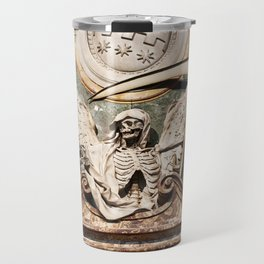 Skeleton statue as symbol of plague and death in church Travel Mug