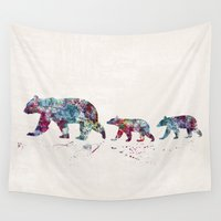 bears Wall Tapestries featuring Bears by Watercolorist