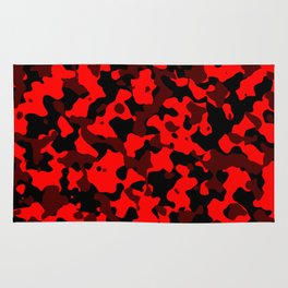 Camouflage Black and Red Rug
