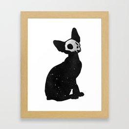 Black Cat Skull Framed Art Print