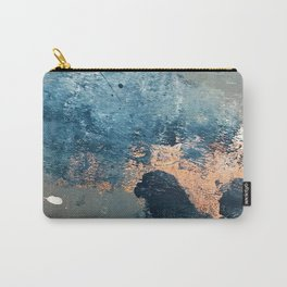 Wander [2]: a vibrant, colorful, abstract in blues, pink, white, and gold Carry-All Pouch