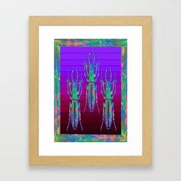 Decorative  Opal Beetles Triad  in a Purple-opal Nature Design Framed Art Print