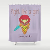 metroid Shower Curtains featuring Fight Like a Girl - Metroid by ~ isa ~
