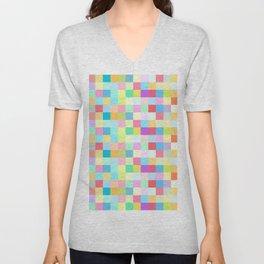 Mixed colorful pastel squares Unisex V-Neck