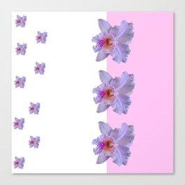 TROPICAL PURPLE CATTLEYA ORCHIDS WHITE-PINK ART Canvas Print