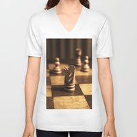 chess V-neck T-shirts featuring Chess by Janelle