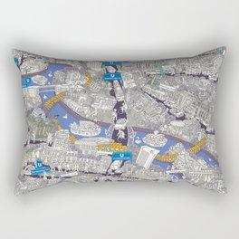 Illustrated map of Berlin-Mitte. Blue Rectangular Pillow