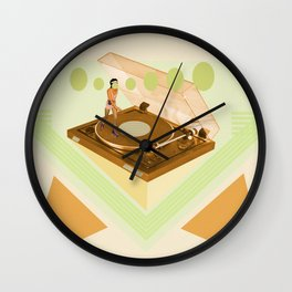 the girl who was roller skating on a record player... Wall Clock