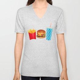 Cheeseburger Fries & Soda Pattern - Yellow Unisex V-Neck
