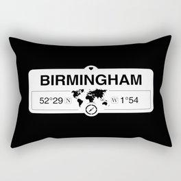 Birmingham England GPS Coordinates Map Artwork with Compass Rectangular Pillow