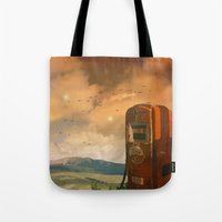 pocket fuel Tote Bags featuring old fuel pump by Cenk Cansever