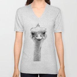 Black and White Ostrich Illustration Unisex V-Neck