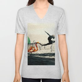 abstarct art with a pink flamingo and a girl Unisex V-Neck