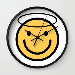 Smiley Face   Halo Holy Smiling Face Wall Clock