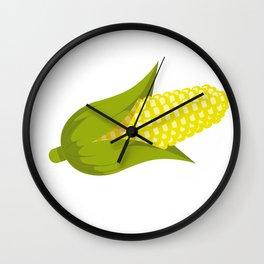 Corn star Shirt yellow corny Cob raining Popcorn Wall Clock