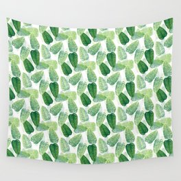 Summer Leaves - White Background Wall Tapestry