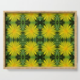 Pattern of abstracted yellow daisies Serving Tray