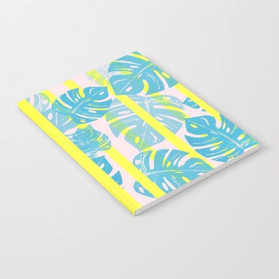 Linocut Monstera Neon Notebook