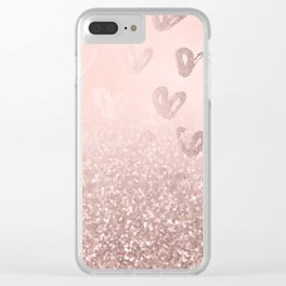 Rose Gold Sparkles on Pretty Blush Pink with Hearts Clear iPhone Case