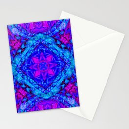 Psychedelic Star Pattern Pink Blue Stationery Cards