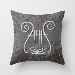 Black Lyre Throw Pillow