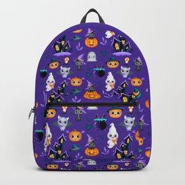 Cute Chibi Bat, Sweet Black Cat In Pumpkin And Funny Ghost By Hunted House | Purple BG Backpack