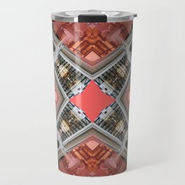 Living Coral Pantone Colour of the Year 2019 pattern decoration with neoclassical architecture Art Travel Mug