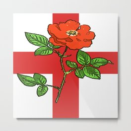 St George Flag and Tudor Rose England Fan Metal Print