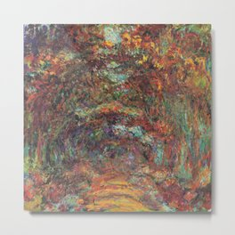 Claude Monet's The Rose Walk, Giverny Metal Print