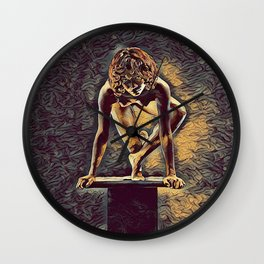 0948s-ZAC Dancer on Pedestal Poised Young Black Woman Antonio Bravo Style Wall Clock