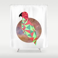 wesley bird Shower Curtains featuring Bird by Mehdi Elkorchi