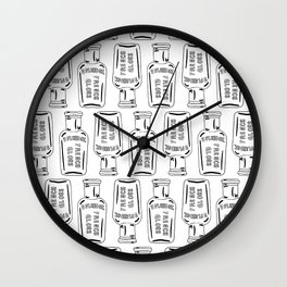 Vintage Bottle Collection Illustrated Repeat Pattern Print Wall Clock