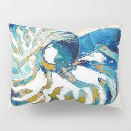 Beachy Art - Nautilus Shell Bleu - Sharon Cummings Pillow Sham