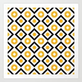 Sun yellow pattern of rhombuses and circles Art Print