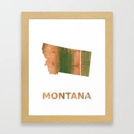 Montana map outline Peru green streaked wash drawing Framed Art Print